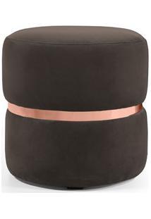 Puff Decorativo Com Cinto Rosê Round B-261 Veludo Marrom - Domi