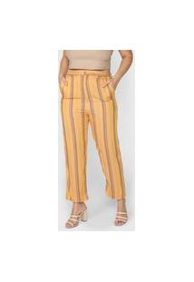 Calça Cantão Pantalona Listras Amarela