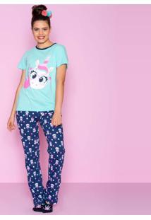 Pijama Unicórnio Puket Manga Curta Feminino - Verde Água Verde - Tricae