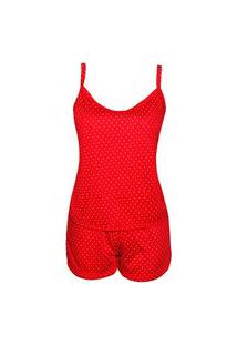 Baby Doll Alça Em Malha Estampado Poa G15 Vermelho P