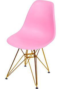 Cadeira Eames Polipropileno Rosa Base Cobre - 45974 - Sun House