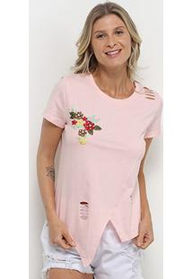 Camiseta Pérola Recorte Aplique Manga Curta Feminina - Feminino-Rosa Claro