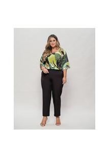 Blusa Almaria Plus Size New Umbi Decote Quadrado Verde