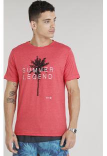 """Camiseta Masculina """"Summer Legend"""" Manga Curta Gola Careca Vermelha"""