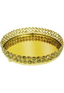 Bandeja Crystal Redonda Dourado Em Metal - 26X26 Cm