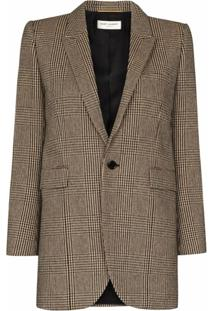 Saint Laurent Jaqueta Prince Of Wales De Tweed - Colorido