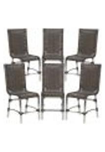 Cadeiras 6Un Para Area Varanda Fibra Sintetica Sala Cozinha Jardim Sacada Sevilha - Pedra Ferro