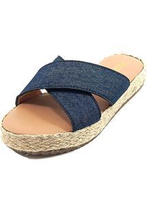 Tamanco Anabela - Tira Larga X - Jeans - Flatform Corda - Tricae