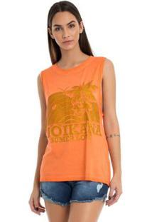 T-Shirt Moikana Estampa Com Glitter - Feminino-Laranja