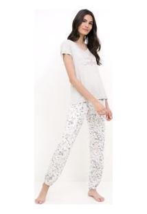 Pijama Manga Curta Estampado E Calça Floral
