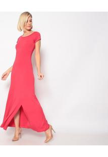 Vestido Longo Com Fenda- Vermelho- Vittrivittri