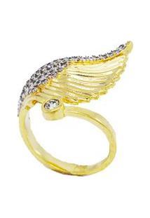 Anel Angel Cravejado De Zircônias Brancas Regulável