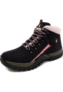 Coturno Bota Adventure Mac Shoes 218-Preto/Rosa
