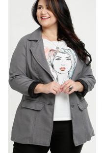 Blazer Feminino Quadriculado Plus Size Razon