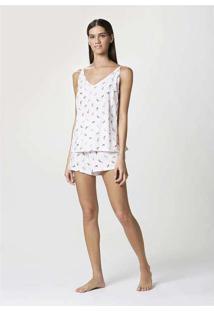 Pijama Feminino Curto Com Alças Finas Estampado Br