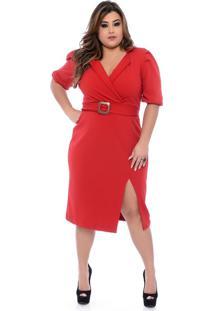 Roupas Plus Size Domenica Solazzo Vestidos Curtos Vermelho - Tricae