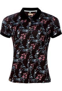 Camisa Polo Seeder Feminina Floral Preta - Kanui