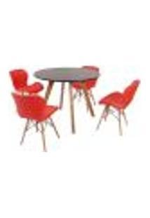 Mesa Inês 100Cm Preta + 4 Cadeiras Eiffel Slim - Vermelha
