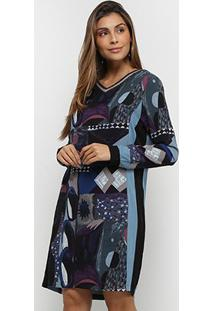 Vestido Malharia Nacional Estampado Manga Longa - Feminino-Azul