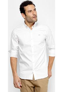 Camisa Lacoste Slim Listras Manga Longa Masculina - Masculino