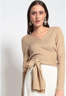 Blusa Com Transpasse- Dourada- Evaeva