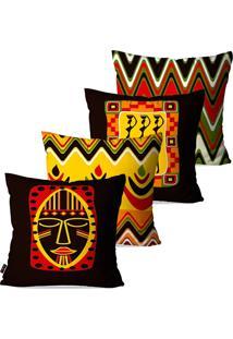 Kit Com 4 Capas Para Almofadas Pump Up Decorativas Tribo Máscara 45X45Cm