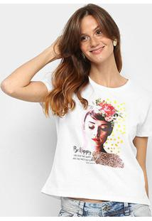 Blusa Mercatto Be Happy Audrey Hepburn Feminina - Feminino-Branco