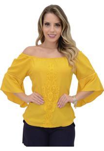 Blusa Mamorena Ombro A Ombro Aplicaã§Ã£O Frente Amarelo - Amarelo - Feminino - Dafiti