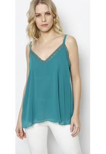 Blusa Com Renda - Verde- Ahaaha