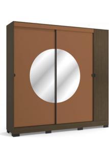 Guarda Roupa Kappesberg Po702 Pop 3 Portas Com Espelho Jacarandá Com Terracota