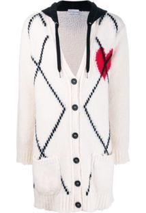 Red Valentino Cardigan De Tricô Com Capuz - Branco