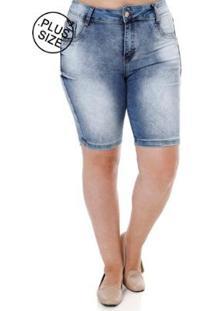 Bermuda Amuage Jeans Plus Size Amuage Feminina - Feminino-Azul