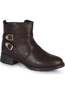 Ankle Boots Feminina Mooncity Recortes Marrom
