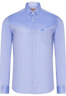 Camisa Masculina Cetim Maquinetado - Azul