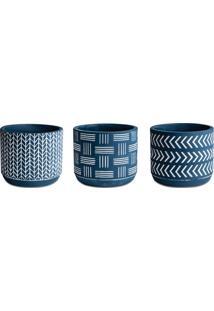 Jogo De Cachepot Geométrico- Azul Escuro & Branco- 3Mart