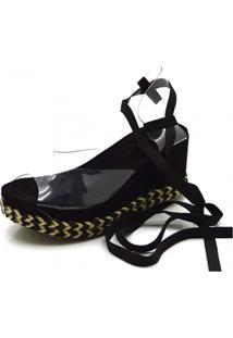 Sandália Flor Da Pele Anabela Salto Médio Em Nobucado Preto Com Transparência