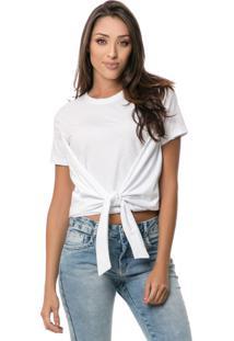 T-Shirt Pkd Cropped Com Amarração Branca Multicolorido