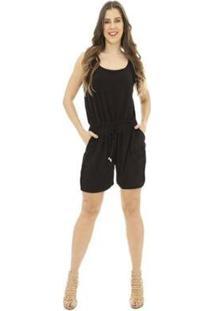 Macaquinho Amarração Catwalk Plus Size Cw19-5433Co Feminino - Feminino-Preto