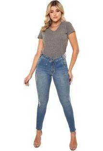 Calça Jeans Cigarrete Linda Z Mid Rise Skinny 206621325 Azul 46 - Feminino