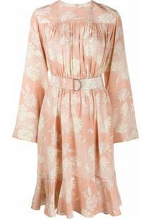 Chloé Vestido Com Cinto E Estampa Floral - Laranja