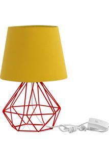 Abajur Diamante Dome Amarelo Mostarda Com Aramado Vermelho - Vermelho - Dafiti