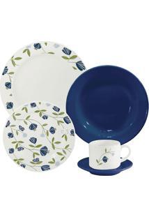 Aparelho De Jantar Biona Donna Floral Azul Com 20 Peças