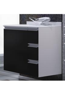Armário Para Banheiro Branco/Preto Com Gavetas (Lado Direito) -...