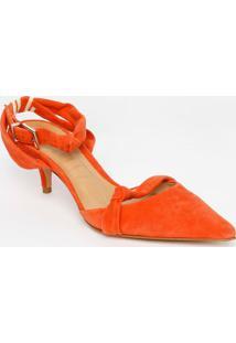 Sapato Chanel Em Couro Com Nó - Laranja - Salto: 6,5Schutz