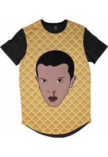 Camiseta Longline Insane 10 Stranger Things Eleven Waffle Sublimada Preto