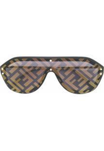 Fendi Eyewear Aviator Ff Print Sunglasses - Preto
