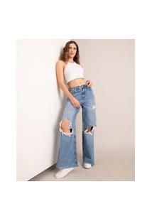 Calça Wide Jeans Marmorizada Destroyed Cintura Baixa Azul Médio