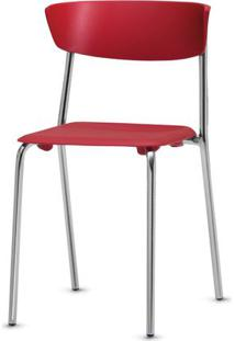 Cadeira Bit Assento Vermelho Base Cromada - 53665 Sun House
