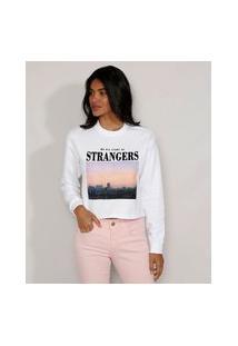 "Blusa De Moletom Feminina Strangers"" Flocada Decote Redondo Off White"""