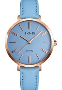 Relógio Skmei Analógico 1397 - Azul E Rosê
